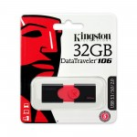 PENDRIVE 32GB USB PENNA CHIAVE FLASH KINGSTON DT106/32GB DATATRAVELER Nero su Rosso